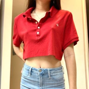 Ralph Lauren red cropped polo